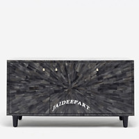 Handmade Bone Inlay Black spiral Design Dresser Cabinet Sideboard 3 Door