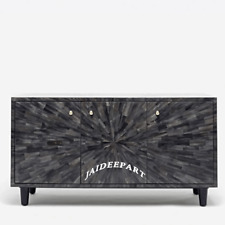 Handmade Bone Inlay Black spiral Design Dresser Cabinet Sideboard 3 Door