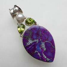 Purple Mojave Turquoise Pendant Peridot Pearl Solid Sterling Silver 925 Handmade