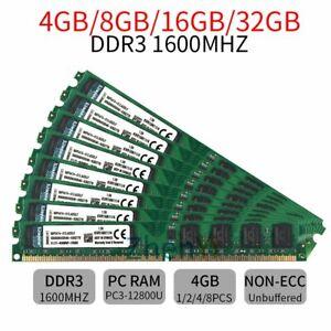 32GB 16GB 8GB 4GB PC3-12800U DDR3 1600MHz DIMM Intel Memory RAM For Kingston LOT