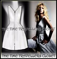 BNWT KATE MOSS TOPSHOP 50s FIT n' FLARE ZIP FRONT WHITE DOBBY DRESS UK 16 44 12