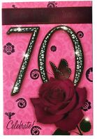 To A Dear Nan 70 70th Rose & Butterfly Design Lovely Verse Happy Birthday Card