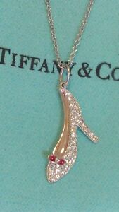 TIFFANY & CO RED ENAMEL & DIAMOND SHOE HEEL PLATINUM CHARM/PENDANT
