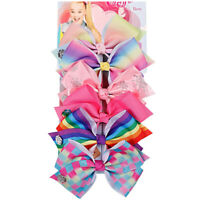 6 Pcs/Set Rainbow Printed Knot Ribbon Bow Hair Chip For Kids Girls Hair bow