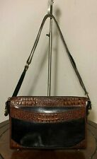 Vtg BRAHMIN Medium E/W Brown Croco Embossed Leather Zip-Top Shoulder Purse Bag
