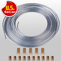 "2 Roll 25Ft Silver/&Gold CopperSteel Zinc 3//16/"" Brake Line Tubing With15Pcs Nuts"