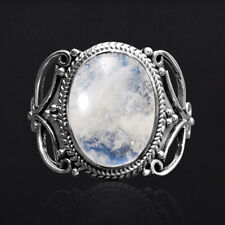 Vintage 925 Silver Oval Natural Rainbow Moonstone Lapis Lazuli Antique Ring 6-10