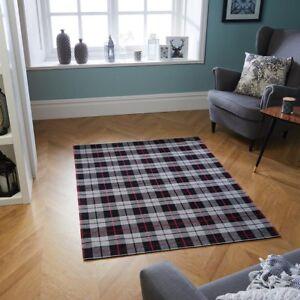 Cottage Black Red Tartan Checked Anti-Slip Rug Runner Doormat Flatweave Country