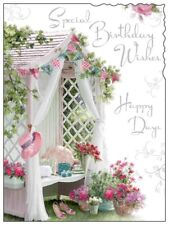 "Jonny Javelin Open Female Birthday Card - Garden Canopy & Bunting 7.25"" x 5.5"""