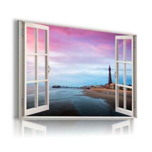 PURPLE SKY BLUE WATER LIGHTHOUSE PIER 3D Window View Canvas Wall Art Print WN77