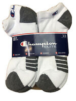 Champion Elite Mens Low Cut Socks Size 6-12 WHITE Double Dry Technology 8 PAIRS