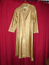 Gold rubber backed satin raincoat sexy shiny mackintosh TV 40 chest long