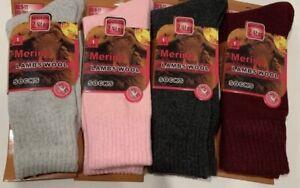 New women 4 pairs solid merino lamb wool warm crew socks