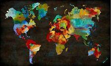 Russel brennan: color My MUNDO Imagen TERMINADA 60x100 Mural Mapamundi