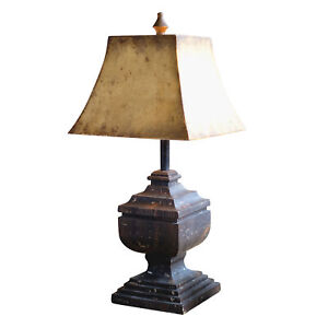 Rustic Distressed Black Wood Table Lamp 28 Inch Antique Gold Square Metal Shade