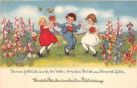 BG20678 children dancing with flower  geburtstag birthday   germany