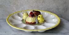 VTG CHICKEN w CHICKS DEVIL EGG TRAY JAPAN Salt Pepper shakers, Egg Display Tray