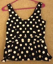 Women's H&M Babydoll Style Top Navy/white Polka Dot Size Eur 38 US 8