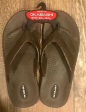 New Okabashi Men Thong Flip Flop Sz LL 9-10 Ergonomic Footbed Brown