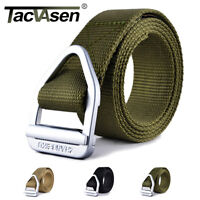TACVASEN Mens Belts Nylon Canvas Metal Upscale Waistband Military Pants Belts
