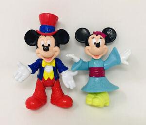 Walt Disney World Epcot Mickey Mouse & Minnie Mouse Toy Figurines Kimono Top Hat