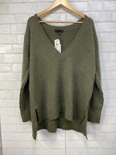 Sanctuary Women's Oversized V-Neck Pullover Sweater Olive Fatigue Green M Medium