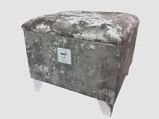 "STORAGE BOX / FOOTSTOOL IN A QUALITY SILVER CRUSHED VELVET 20"" X 20"" X 18"" HIGH"