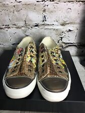 ED HARDY Womens Sz 8 Gold Ivory Brown Animal Design Lace Up Sneakers (no Laces)