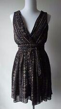 Ark & Co. Black/Beige Deep V-Neck Dress Pleated Skirt Size:Medium Excellent!!