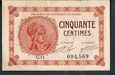 LA FRANCE JOURNAL local argent Chambre de Commerce de PARIS 50 CENTIMES 1920 AUNC