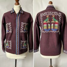 Vintage 60s 70s Guatemalan Woven Cotton Embroidered Shirt Quetzal Size S 8 10