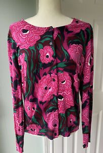 NWT Talbots Floral Cardigan Sweater Pink Navy Blue Large