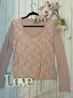 Jigsaw Size L 14 pink lace front long sleeve thin knitted jumper hint cashmere