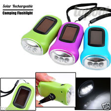 LED Flashlight Hand Crank Dynamo Solar Power Rechargeable For Carabiner Camping