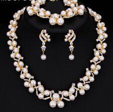 Superbe robe de mariée doré cristal ivoire perle collier boucles d'oreilles Bracelet Ensemble