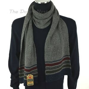 URBAN PIPELINE Men's FLECKED GRAY Winter SCARF with BLUE, RED & GREEN STRIPES