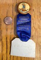 1936 FDR Virginia Democratic State Convention DELEGATE PIN RIBBON Rare NICE! R03