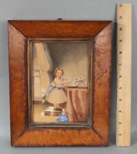 19thC Antique American Folk Art Watercolor Painting, Little Girl, Doll & Flowers