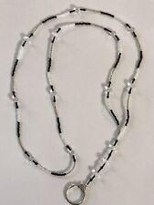 "22"" Black White & Silver Hand Beaded Lanyard ID Badge Holder Key Ring"