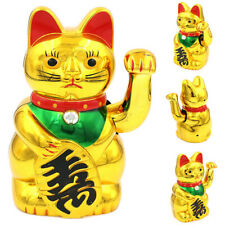 """8"""" Chinese lucky waving golden cat figure with moving arm feng shui decor gif ws"""