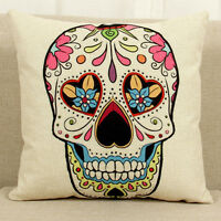 18'' Skull Pattern Linen Cotton Throw Pillow Case Cushion Cover Home Sofa Decor