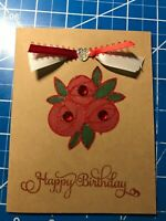 Birthday Card Kraft paper with glittering red Roses double satin ribbon Handmade