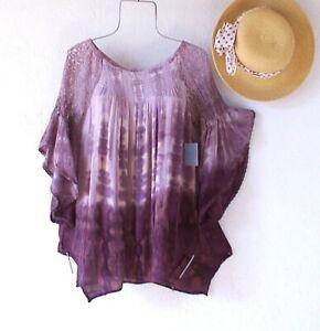 New~Rum Raisin Cotton Lace Peasant Blouse Shirt Ruffle Boho Top~Size Large L