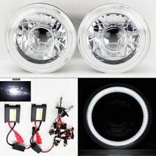 "7"" Round 6K HID Xenon H4 Clear Projector CCFL DRL Glass Headlights Pair Plymouth"