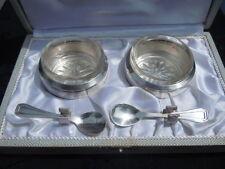 Paire salerons cristal cuillères métal argenté Orfèvrerie H F Paris France