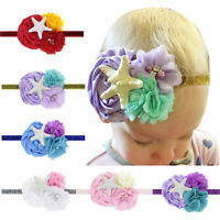Newborns Baby Kids Chiffon Floral Headband Decorative Resin Starfish Headwear