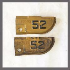 1952 California License Plate Metal Corner Tags Tabs YOM DMV Year of Manufacture