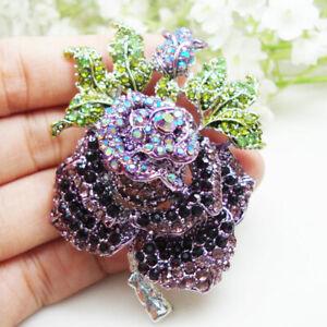 Purple Crystal Rose Flower vintage Woman Brooch Pin Jewelry Rhinestone