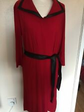 Attitudes by Renee Jersey Dress with Faux Leather Belt Red Size Large New