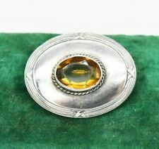 Vintage Sterling silver brooch pin Citrine faceted Statement Art Deco #W283